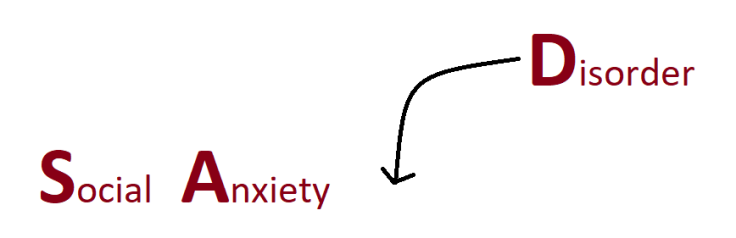The full name is Social Anxiety Disorder, but I usually stick with Social Anxiety. However, I'm not talking about a mild fear of public speaking.